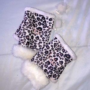 Ugg Leopard Print Fingerless Fur Trimmed Gloves